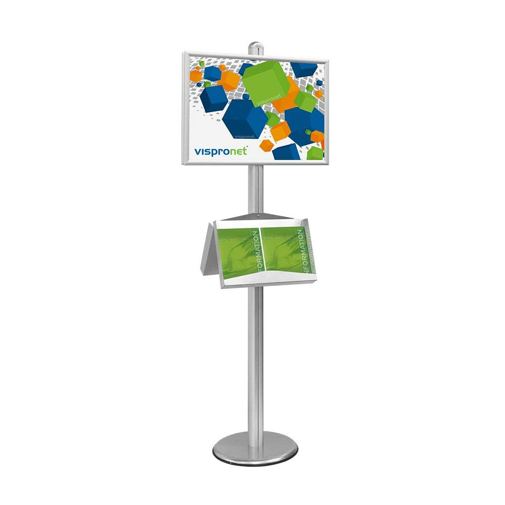 Pedestal Sign Holder Stand with Aluminum Post and Brochure Holders, 2 Poster Frames for 27.25in. x 19.25in. Graphics, Front-Loading Design - Silver Aluminum