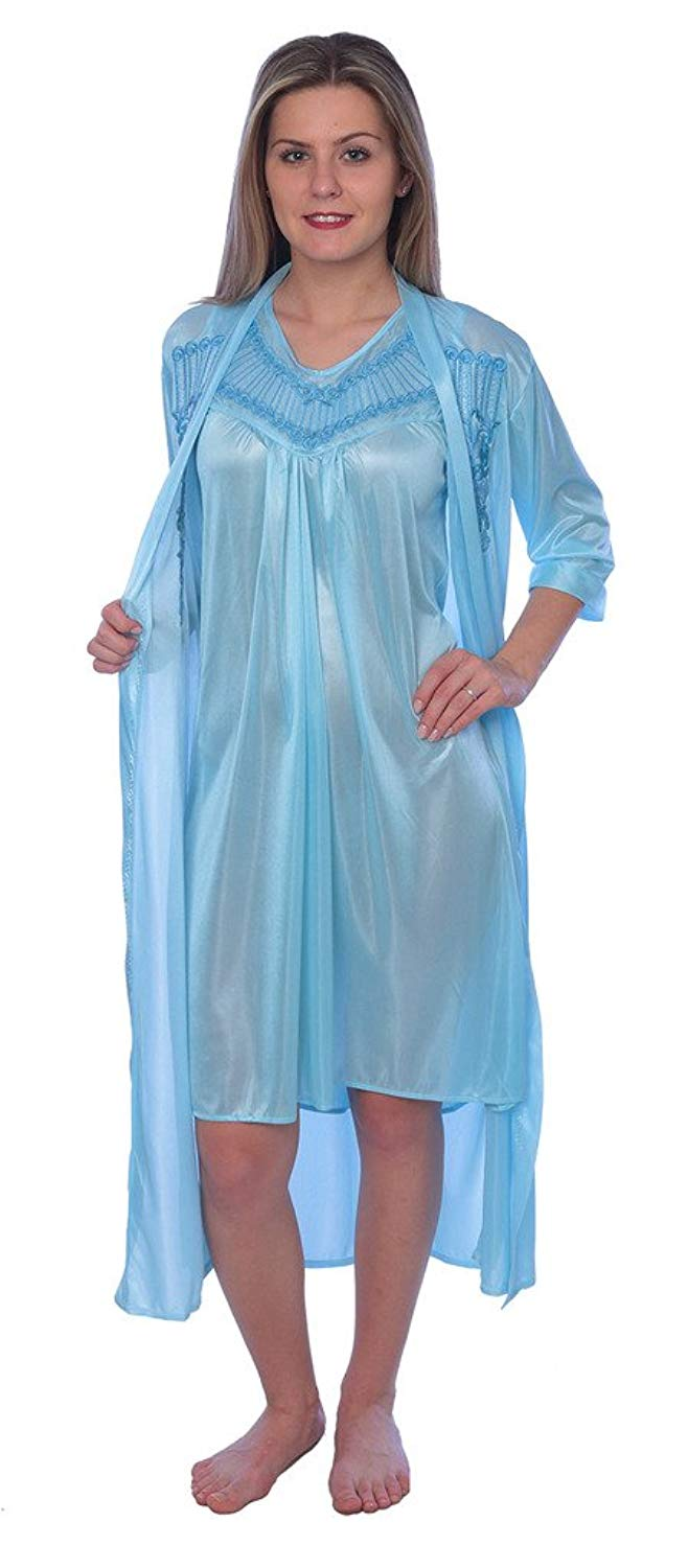 dd0049de7c Get Quotations · Beverly Rock Women s Solid Tricot Robe Set Long Shiny Satin  Silky Nightgown Set