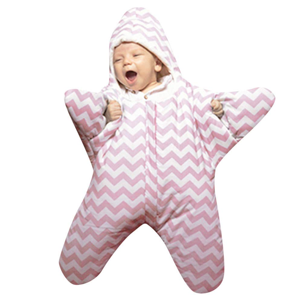 Baby Boys Girls Stripe Starfish Shape Fleece Lining Sleep Bag Romper Jumpsuit