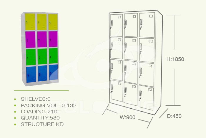 Luoyang steel clothes cabinet metal storage wardrobe 9 door steel china lockers for gym