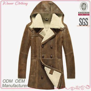 a5bc54b00196d Hombres manga larga con capucha moda epaulet doble de pecho de lana larga abrigos  para hombres