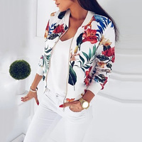 Autumn Women New Fashion Slim Floral Zipper Long Sleeve Short Coat Baseball Jacket