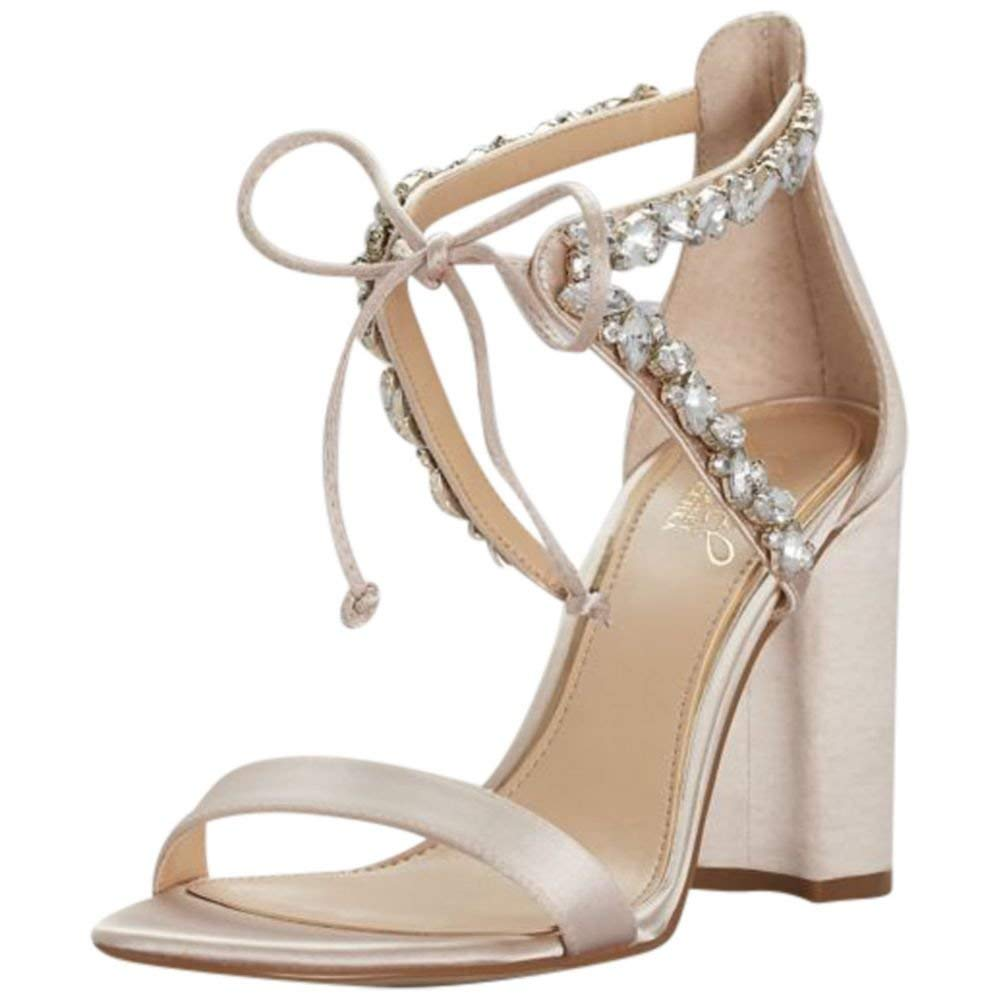 d9fda8fce133 Get Quotations · David s Bridal Crystal-Embellished Ankle-Tie Block Heel  Sandals Style JWTHAMAR