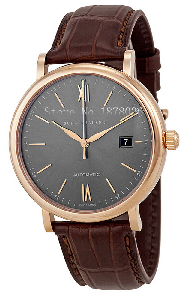 Hot Sale Schaffhausen Watch Portofino Automatic 40mm Grey Dial Brown Leather Strap Men's Watch IW356511 With Box