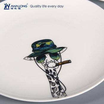 Hayvan Tasarım El Boyama Custom Made Yemek Tabaklarıkarikatür Kemik