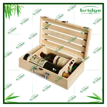 Hand Made Wooden Crate 2 Wine Bottle Travel wine Box Carrying Display Case