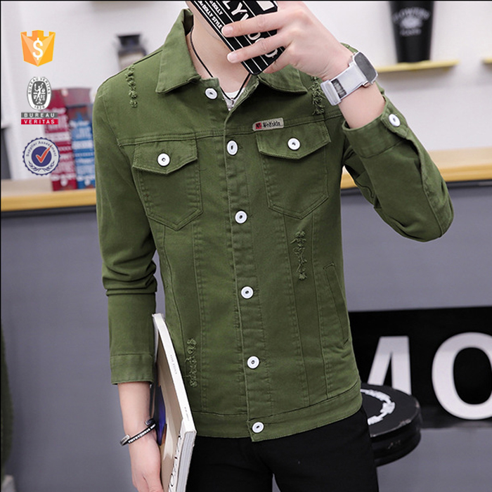 OEM customize mens summer fashion trends slim fit scratchy khaki denim jackets