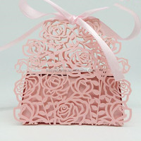 Personlized laser cutting hollow shower birthday new born gift favor box bridal wedding souvounir candy box XK01