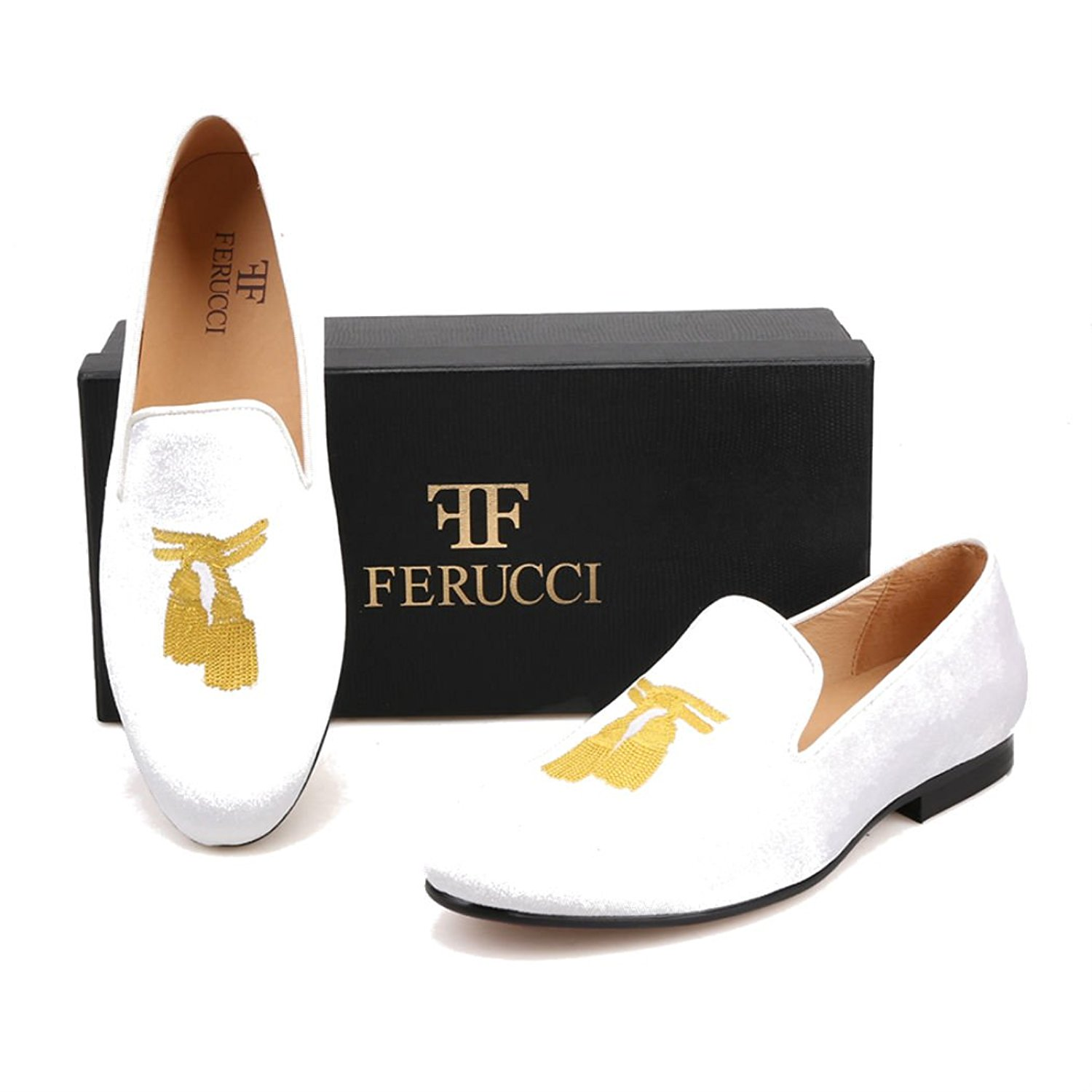 59b317a16f98 Get Quotations · FERUCCI Men White Velvet Slippers Loafers Flat With Gold  Embroidered Tassel