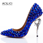 Special Heel Bling Bling Shoes with Blue Diamonds