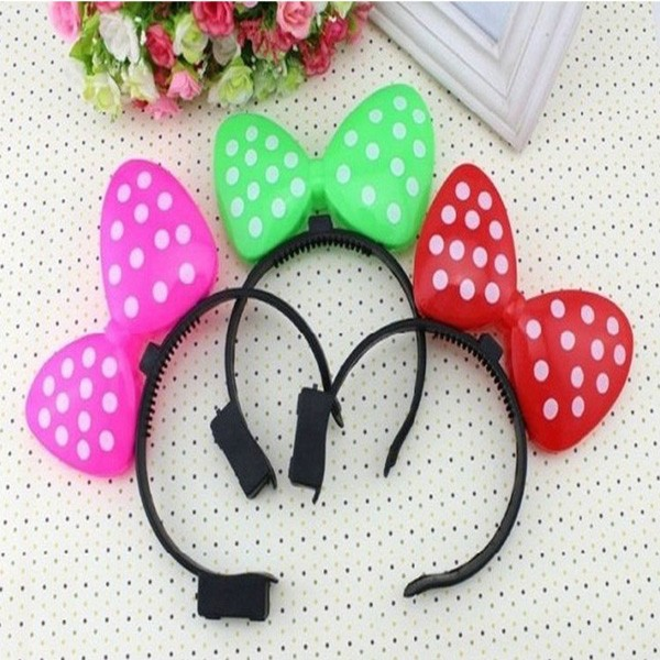 Christmas Halloween Party Supplies Decoration Hair accessory Flash Head Bow Tie Headband Led Headwear for Kids Girl Women