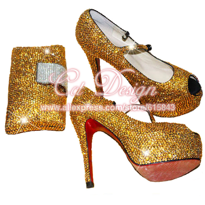 Get Quotations · Sparkly Shoes Woman Rhinestone Gold Wedding Shoes Mary  Janes Platform Peep Toe High Heels Italian Shoes 9ca50580a57b