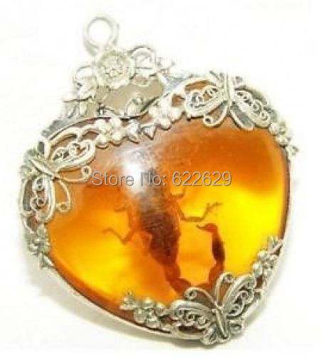 Fancy Bridal HOT SALE new Tibet silver amber scorpion necklace pendant wholesale 2pcs Silver hook necklaces Free Shipping
