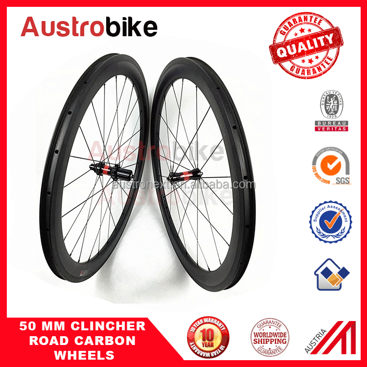 Carbon wheels 50 mm clincher for road bike with taiwan hub road MTB wheelset fixedgear carbon wheelset