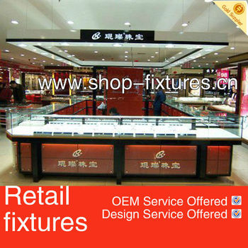 Boutique Furniture With Led Lights Jewelry Display Showcase For ...