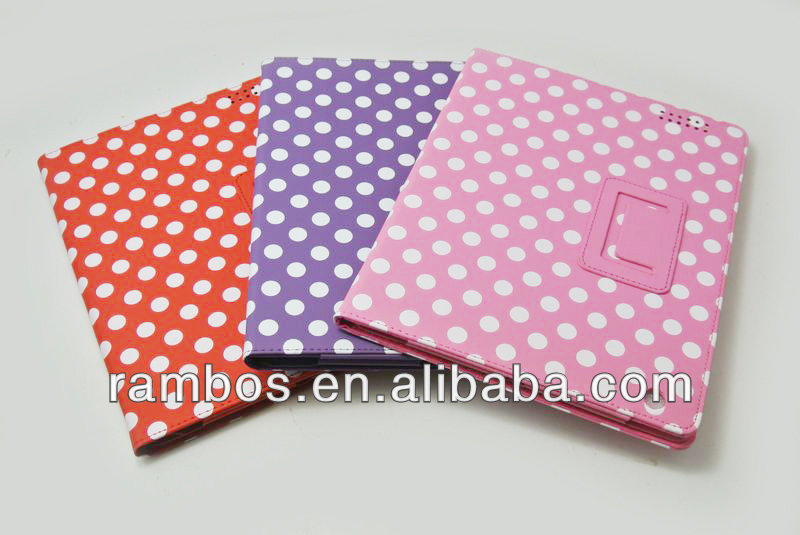 Polka Tablet Flip Stand Leather Wave Point Case for iPad 2 3 4