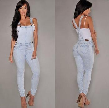 f53d32f5920c Sexy Button Bodysuit denim overalls jumpsuit mujer Bleached Skinny Casual  Summer girl Salopette Jean Femme Romper
