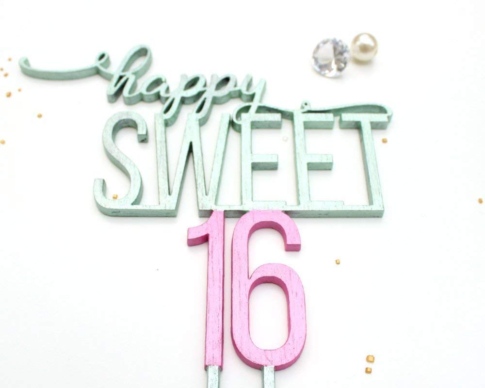 acc1331cd68a ... Rhinestone Number Sixteen 16th Birthday Party Decoration Silver 9.99. 16  Cake Topper - Happy Sweet 16 Cake Topper - Sweet Sixteen Cake Topper - Cake