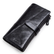 CONTACT'S Мужской модный бумажник из натуральной кожи с карманом для телефона с отделением для карт мужской длинный кошелек 2019(Китай)