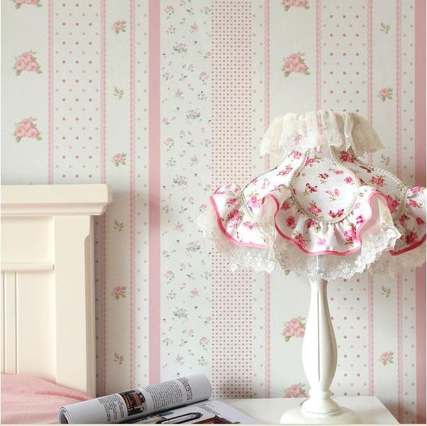 pink floral wallpaper flower pvc wall paper for child. Black Bedroom Furniture Sets. Home Design Ideas