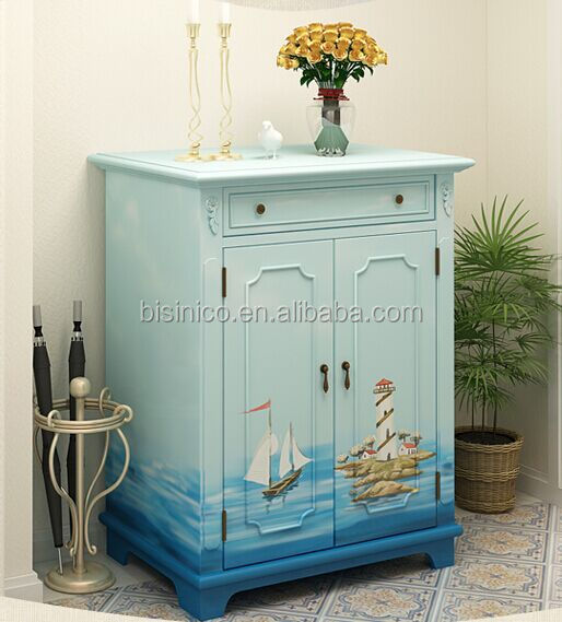 Mediterranean Style Shoe Cabinet, Sailing Boat Handpainting Shoe Rack, Living  Room Solid Wood Shoe