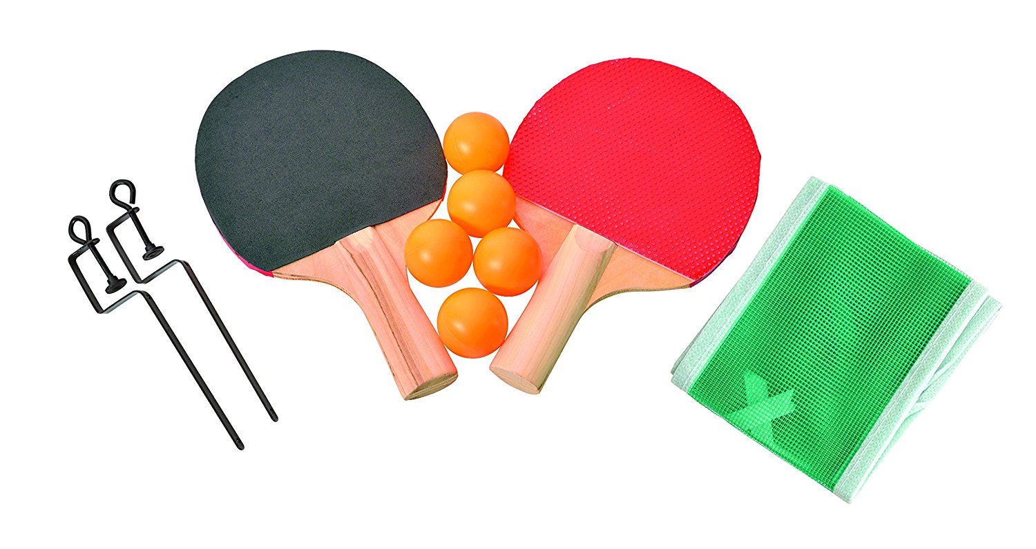 """Table Tennis Travel 10 Piece Set - Includes 2 Paddles 5 Ping Pong Balls Net Posts And Net Fits Tables Up To 48"""" Wide - Ideas In Life"""