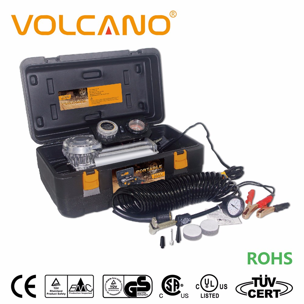 Portable car tire inflator with LED backlight and in-line pressure gauge