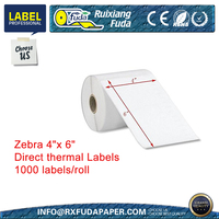 "Zebra 4""x 6"" Direct thermal Labels 1000 labels / roll"