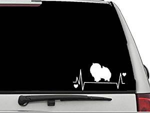 """Decal Dan - """"Pomeranian Heartbeat Lifeline 2"""" Vinyl Die Cut Car Truck Window Decal Sticker Laptop"""
