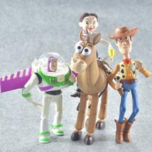 4 unids set Toy Story 3 John Lasseter Buzz Lightyear figura de acción Tim  Allen Woody Jessie PVC BullsEye Hamm modelo muñeca jug. df264dcdc1f