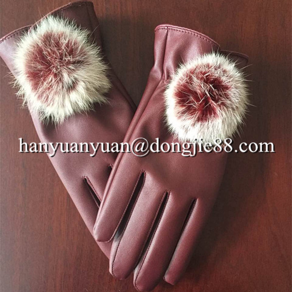 alibaba express suede fashion winter fur fingerless leather gloves