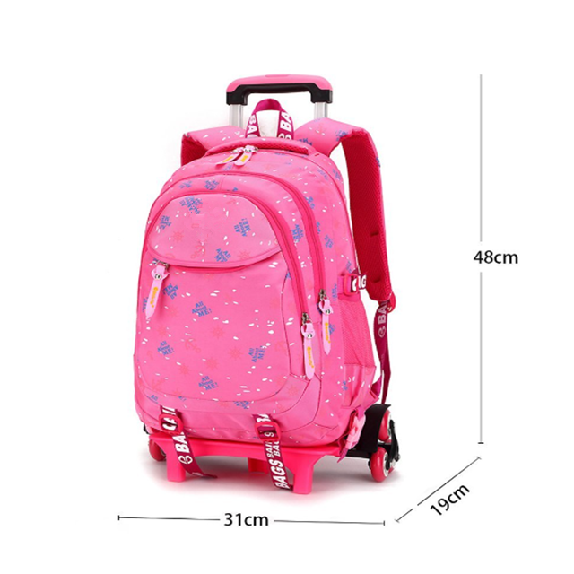 Osgoodway Cute Desgin Wholesale Nylon Trolley Girls Backpacks with Wheels Removable Rolling