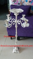 New product silver plated wrought iron candlesticks with flower bowl