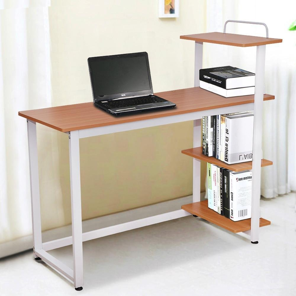 Yaheetech 4 Tier Shelving Round Corner Wood Computer Desk Home Office Study Brown