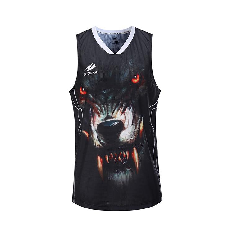 2018 Latest Design Custom Mesh Sport Sleeveless Black Sublimated