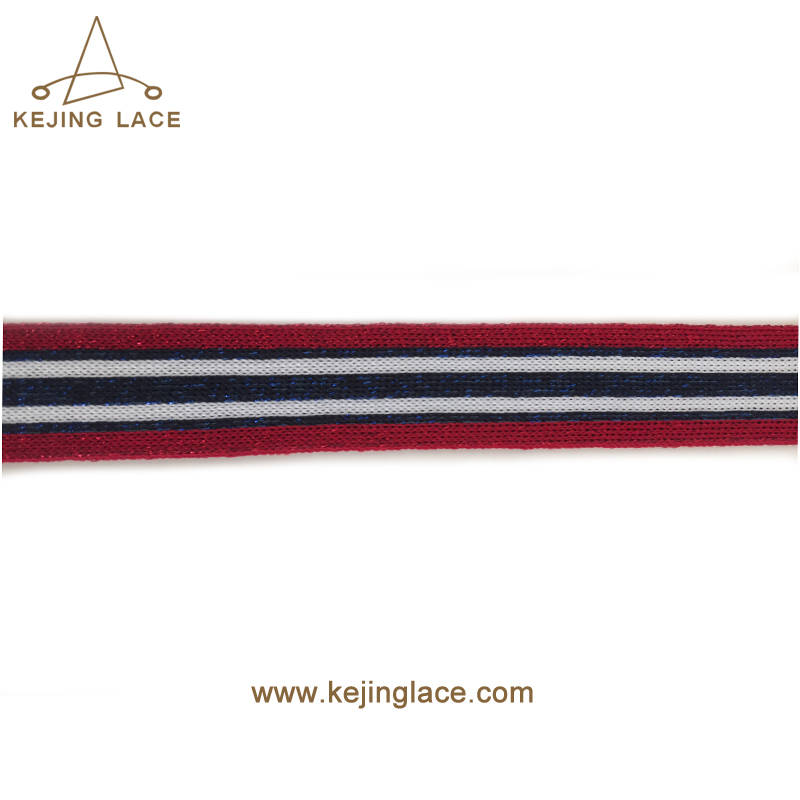2018 Hot Sale New Design Knit Tape Rib Knit Trim With Metallic