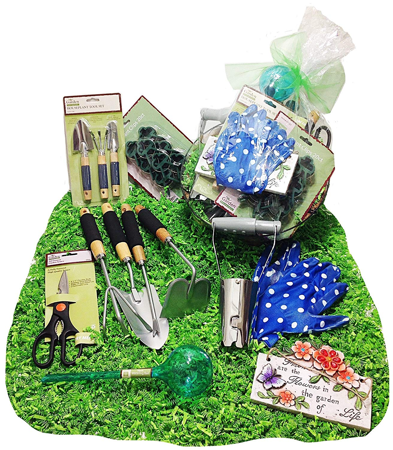 Get Quotations · Distinctive Designs Gardening Tools Gift Basket Set U0026  Hanging Cocoa Lined Planter ...