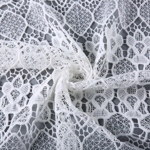 Europe stocklot chemical lace embroidery white embroidered mesh fabric for clothing