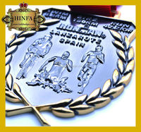 Newest customized souvenir 3d metals with ribbon factory produce