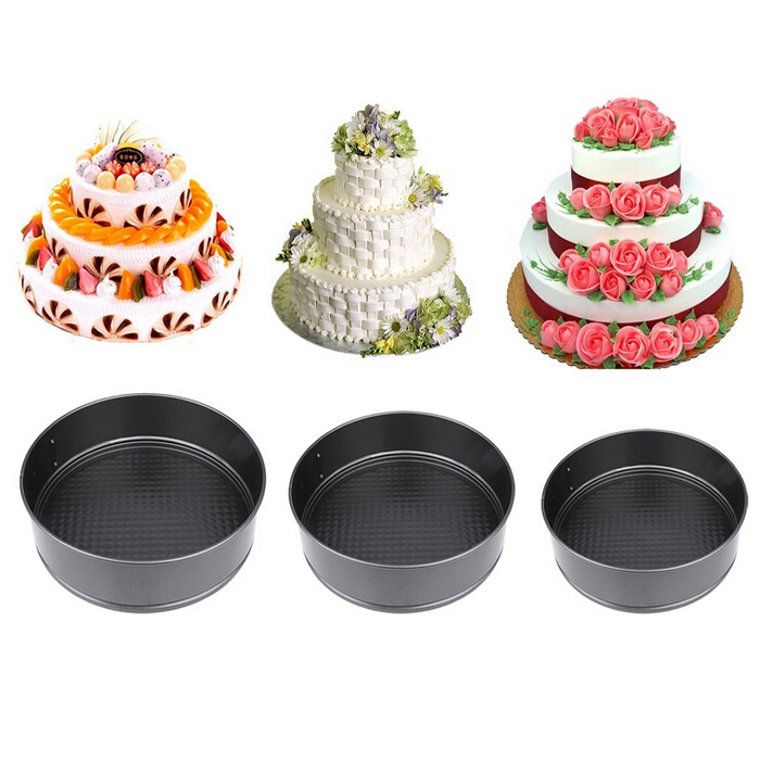 3pcs Nonstick Springform Pan Cheesecake Pan Leakproof Cake Pan Bakeware Loose Base Cake Baking Tin Interlocking Bakeware