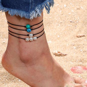 Fashion Natural Simple Style Foot Jewelry Pearl Blue Green White Turquoise Handmade Leather Black Rope Pearl Anklet