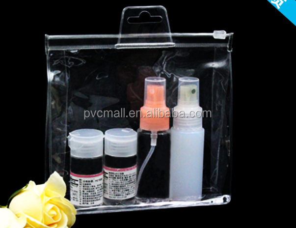 Vinyl clear PVC 3 sides gusset packing zip lock bag with round hanger for towel