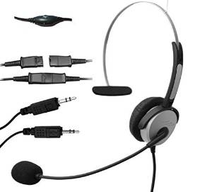 Voistek Corded Monaural Call Center Telephone Headset Noise Cancelling Headphone with Mic Complete with PLT(28959-01) Compatible Quick Disconnect Cord with dual 3.5mm Audio Plug, Headset to PC Sound Cards VOIP Adapter Cable (H10P35DMM)