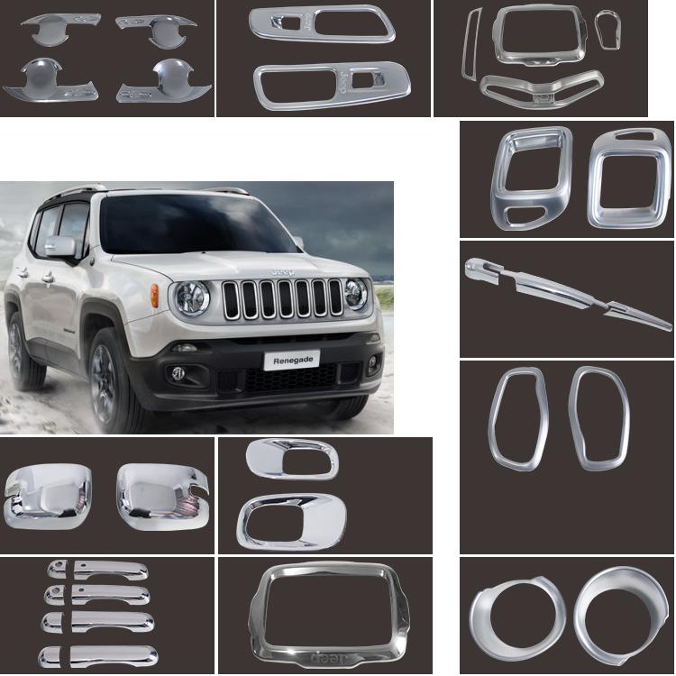 Pleine Accessoires Automatiques De Chrome Kits Couverture D'antibrouillard Avant Pour Jeep
