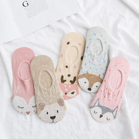 Women young girls cartoon animal sox nylon invisible plain design no show spring summer socks