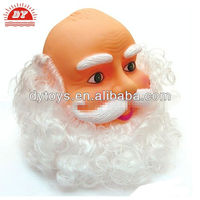 Vinyl PVC Christmas Santa Head with Real Long White Beard
