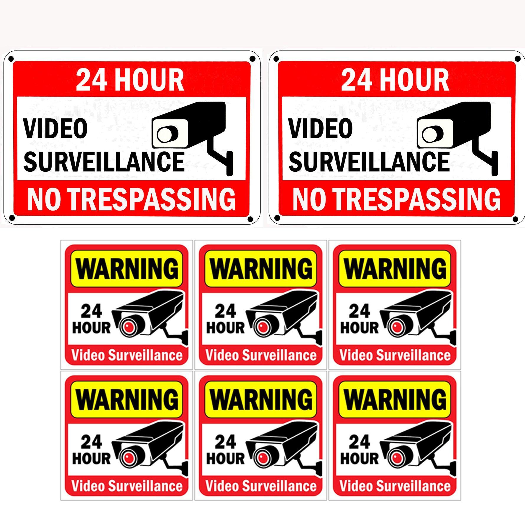 2 x Warning 24 Hour Video Surveillance stickers
