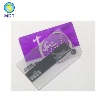 MDT full color printed clear frosted glossy cheap transparent business card with embossing number and qr code