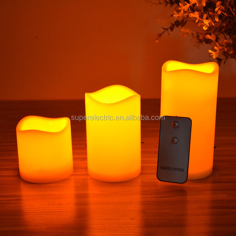 Battery operated flameless wax LED candle light with remote contra