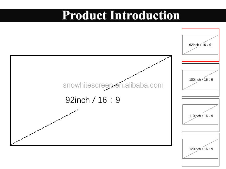 Snowhite 100 inch 16:9 Aspect ratio, 2.56 inch Frame or 1Black Velvet, Projection Screen